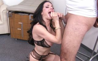 Brunette MILF shoves his big dick deep into her throat