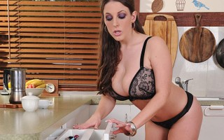 Angela White enjoys a pocket pussy rocket on her big tits