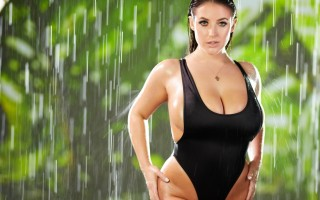Angela White in a tight black swimsuit blowbang