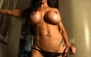 Jewels Jade strips showing off her rock hard body.