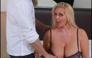 Blonde MILF gets banged hard with her big hooters flopping.