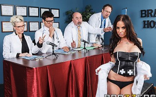 Dr. Aniston is seriously slutty. Not only does she dress like a whore, she admits to fucking her patients! When she faces the review board, they decide to revoke her license because of her skanky behavior. But when she's alone with Dr. Ramon, she decides