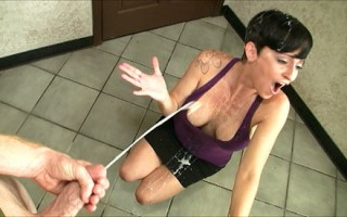 Short Hair Sexy Goth chick Ivu Reins strokes cock and recieves messy facial cumshot