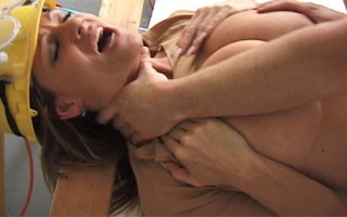 Kelly's been hired to fix some cabinets, but instead she fucks her clients dick in the garage.