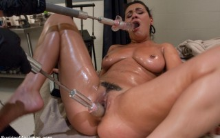 Charley Chase takes double vag machine fucking, launches a magic wand out of her pussy, cums from doggie with a Little Guy, squirt all over the office