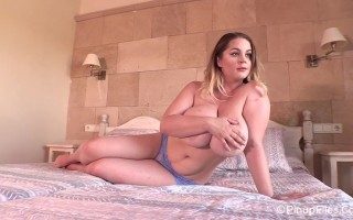 Holly Garner looks so pretty in bed photo shoot wearing her periwinkle lingerie