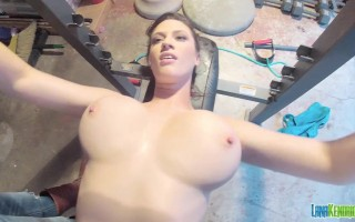 Hey gang! I am here again with another serious workout session for you, and some even more serious big tits covered (and uncovered) in a sports bra that has really no chance of properly holding these bad boys of mine in.