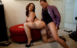 Gorgeous married wife Jayden Jaymes is horny and wants to get dirty with a friend so she sneaks away from her husband and fucks big cocked guy.