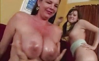 Squeezing Mother-In-Law\'s Oily Tits
