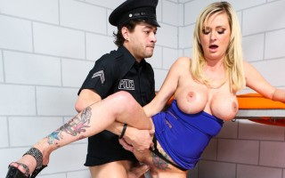 Hot blonde Allison seduces a policeman from behind bars!