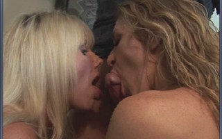 Blue eyed blonde with big melons with milf friend give hard cock blowjob.
