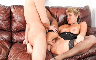 Horny slut takes a massive prick deep into her hairy snatch
