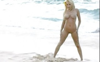 Blonde MILF with BIG BOOBS on the BEACH