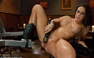 Chanel Prestons perfect pussy vs. Fuckzillas robot cock in an orgasmic dual. She thrusts, grinds and cums on the robot and her custom cock saddle.