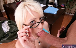 Nora Skyy takes care of her extra credit assignment by sucking and fucking her teachers hard cock.