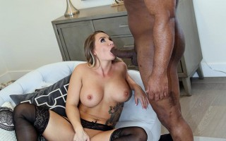 Black cock slut Cali Carter enjoys the jizz dripping