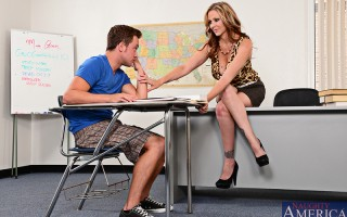 Julia Ann takes her teaching job very serious and makes sure that she leaves no one behind in terms of their education. When she notices that one of her students hasn't been doing great she decides to spend extra time with him after class in hopes of