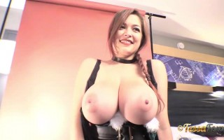 Bustylicious Tessa Fowler in a Black Christmas Velvet Outfit