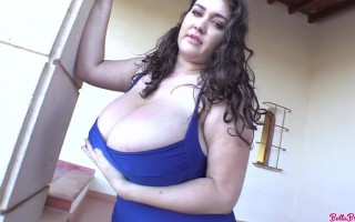 Bella Brewer sexy in royal blue dress teasing with her big bouncing pair of melons