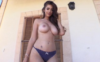 Busty Cara Rose is so sexy only wearing thong panty