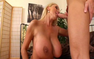 Blond MILF With Huge Tits Eats Young Guy\'s Ass