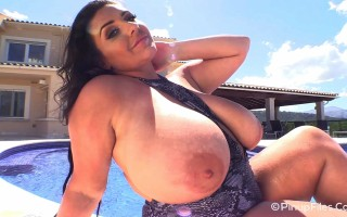 Yasmin Disney in snakeskin bathing suit