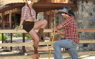 Hot big hairy pussy sexy cow girl gets her box pounded against the fencing in these hot hay and cock riding cum flying vids