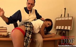 Sexy schoolgirl Abelia spanked hard by teacher Frank Gun