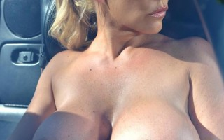 Airbags On The Hood: Busty Blonde\'s Big Tits Exposed!