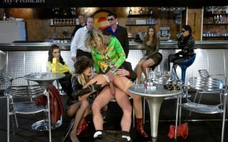 Sweeties fucking at a massive horny sex party at the bar