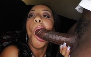 Chubby ebony babe sucks hard black dick and have bang hairy pussy