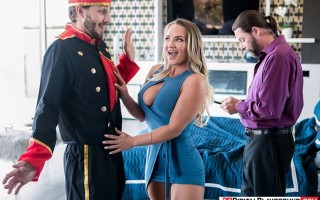 Horny girlfriend Cali Carter in the hot tub with the bellboy