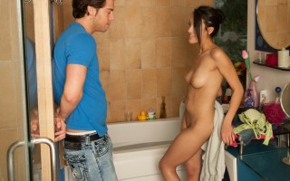 Gorgeous brunette teen gets out of the bath to fuck her friends brother.