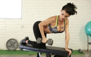 Peta Jensen needs to keep her tight body in perfect shape, and she accomplishes that by working out. From jumping rope to lifting weights to doing pull ups, she won\'t stop until she\'s covered in sweat and satisfied that she\'s pushed herself to the max.