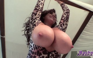 Rachel Teasing Out in a Leopard Skin Outfit
