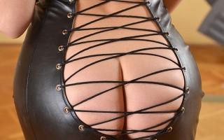Mistress Lorena Sits her Rosebud Down on a Flogger Handle