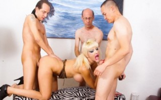 Natasha got caught while masturbating and gangbangs!