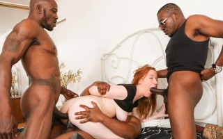 Redhead gets plowed by three shafted bros prowlin the hood !