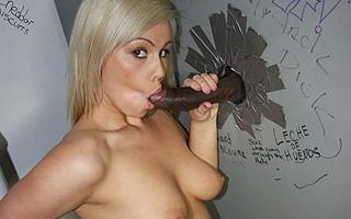 18 year old blond sucks off black dick gloryhole