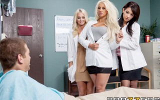 Dr. Brooklyn Blue's brought a couple of her smokin' hot residents along on her rounds today. They want to make sure their patient Xander is in good health, because they've got big plans for him and for his fat cock. Brooklyn and her friends wheel him into
