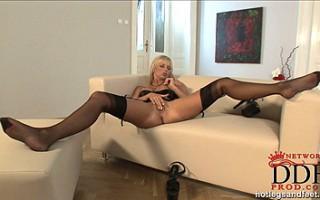 Nude blonde babe Jana posing in stockings & high heels
