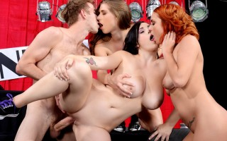 When Danny D gets injured, Noelle Easton, Alex Chance, and Ashley Graham are called in to help raise the money to fix his broken dick by showing off their incredible natural titties. The busty babes do everything they can to make the audience donate, gett