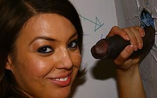 Latina blows black eats cum in gloryhole