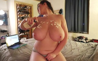 Lana Kendrick in a Holiday Webcam Show Massaging Her Big Boobs With Lotion