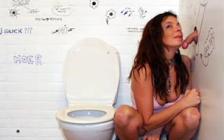 Naughty brunette girl sucking a stranger his cock empty