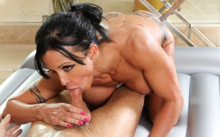 Jewels massages Alan's cock with all her tight oiled body!