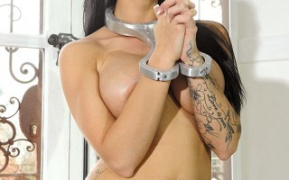 Naughty Girl Isla In Silver Collar & Cuffs Pees Herself