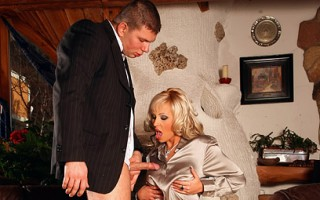 A horny chap drilling a very hot clothed wet babe hardcore
