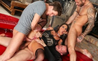 Hot girl gets two cocks stuffed up her butt in this gangbang