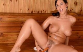 Busty Kyra Hot Masturbates with a Wooden Dildo in the Sauna